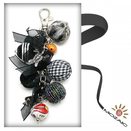 Bag Ornament Black Beaded