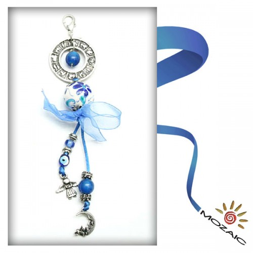 Bag Ornament Blue Beaded