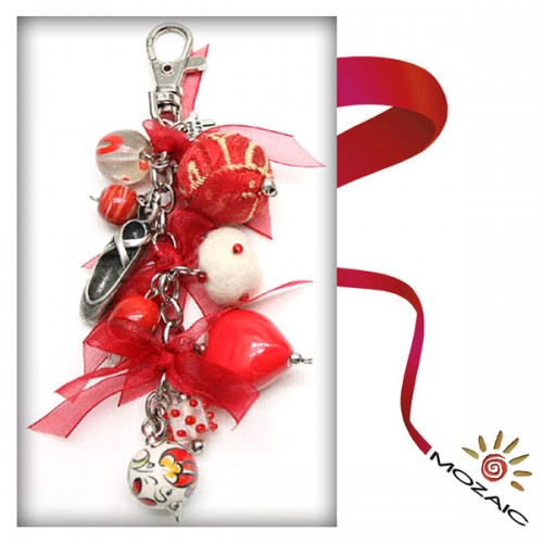Bag Ornament Red Beaded