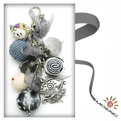Bag Ornament Gray Bead