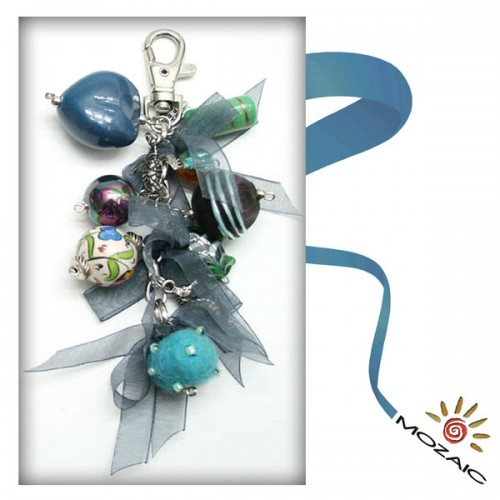 Bag Ornament Turquoise Colored Bead