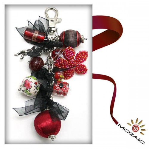 Bag Ornament Dark Black and Burgundy Beaded