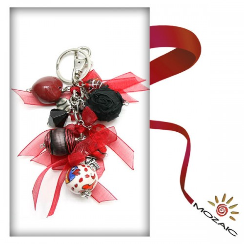 Bag Ornament Red Beaded with black