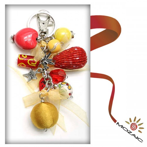 Bag Ornament Yellow and Red Beads