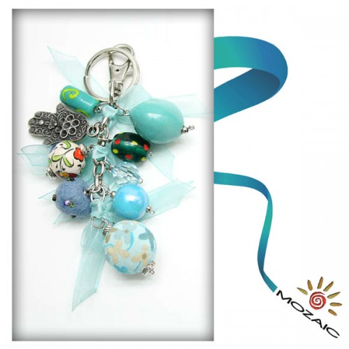 Bag Ornament Clear Turquoise Colored Bead