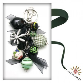 Bag Ornament Black and Green Beads