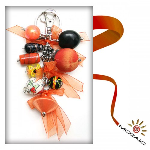 Bag Ornament Black and Orange Beads