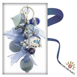 Bag Ornament Clean Blue Colored Beaded