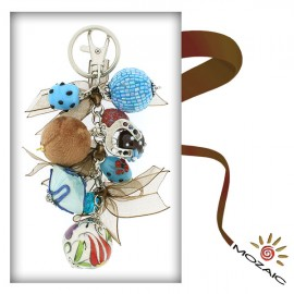 Bag Ornament Blue Tones and Brown Beads