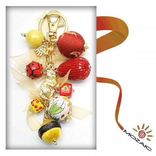Bag Ornament Yellow and Red Dice