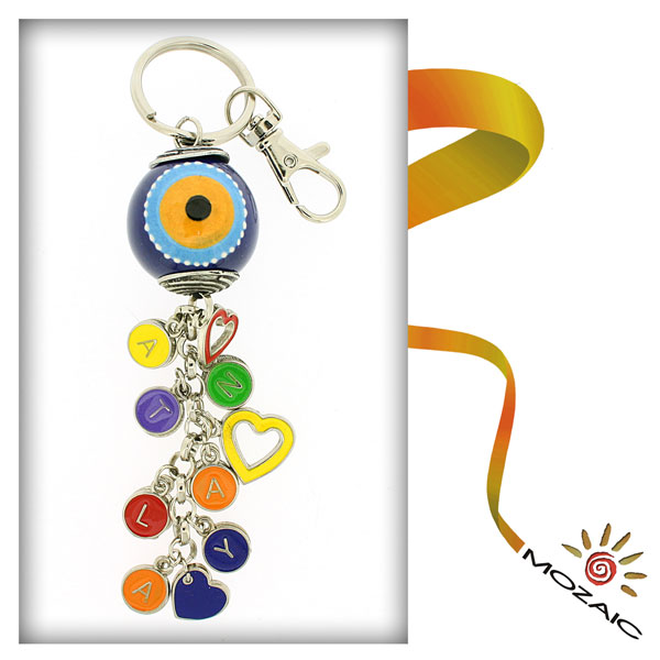 Evil Eye Ceramic Keychain with Letters