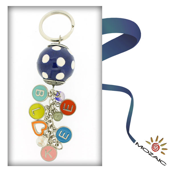 Polka Dots Ceramic Keychain with Letters