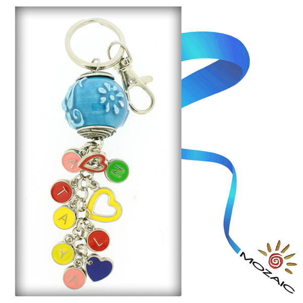 Torqoise Raised Ceramic Keychain with Letters