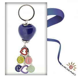 Heart Ceramic Keychain with Letters