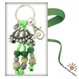 Green Turtles Beaded Keychain