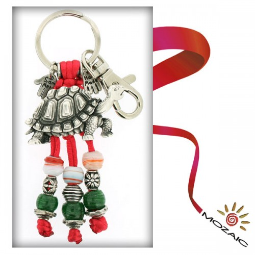 Red Turtles Beaded Keychain