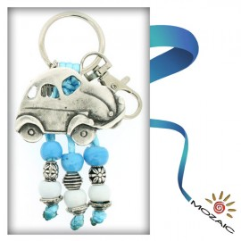 Blue Car Beaded Keychain